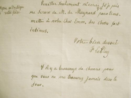 Frédéric Le Play s'interdit toute visite.. Frédéric Le Play (1806-1882) Economiste, fondateur de l'économie sociale.