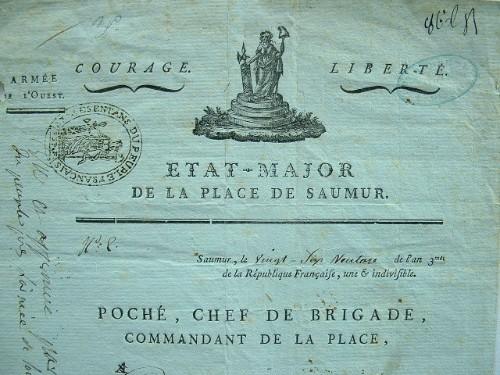 Canclaux et le commandant de Saumur félicitent un zélé républicain.. Julien Poché-Durocher (1755-0) Commandant la place de Cholet, puis celle de ...