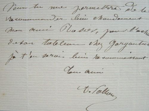 Antoine Vollon recommande Dominique Rozier à Léon Bonnat. Antoine Vollon (1833-1900) Peintre lyonnais.