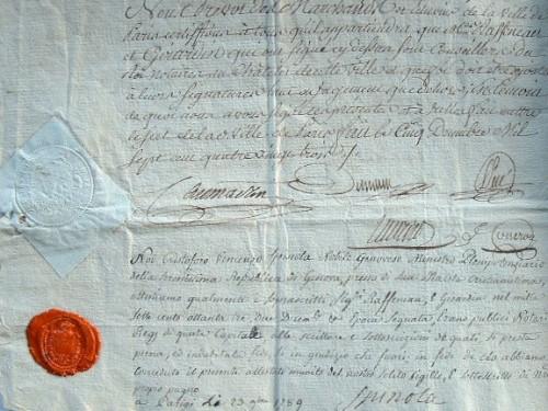 Caumartin ratifie un accord.. Antoine Louis Caumartin (Le Fèvre de) (1725-1803) Prévôt des marchands de Paris, intendant de Metz, de Flandre et ...