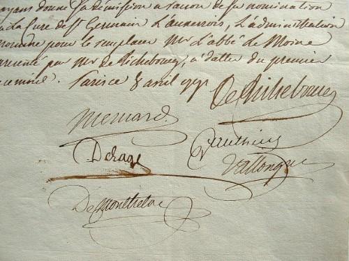 Pièce signée par d'Arboulin de Richebourg et les administrateurs des postes..