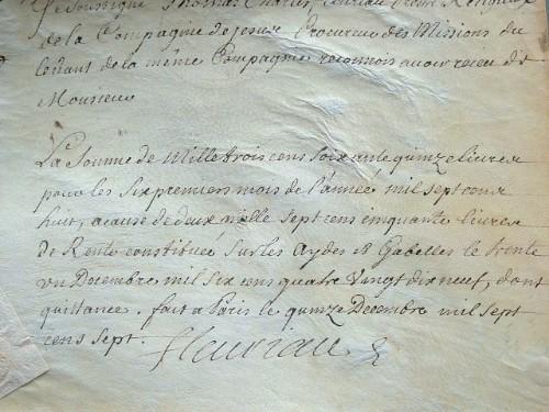 Rétribution des missions jésuites du Levant.. Thomas Charles Armenonville (Fleuriau d') (1651-1735) Jésuite, procureur des missions de la Compagnie de ...