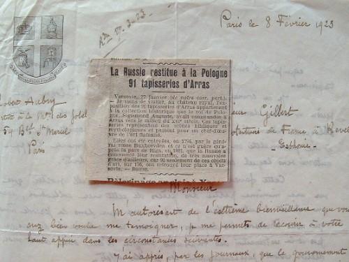 Les précieuses tapisseries d'Arras restituées à la Pologne..