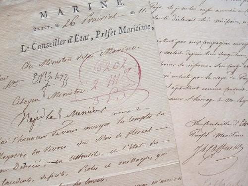 Joseph Caffarelli engage un recensement de l'arsenal de Brest.. Joseph Caffarelli (1760-1845) Premier préfet maritime de Brest.