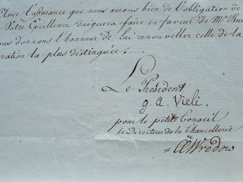 Une sollicitation du Petit Conseil des Grisons.. Georg Anton Vieli (1745-1830) Président du petit conseil du canton des Grisons.Christian Carl Wredow ...