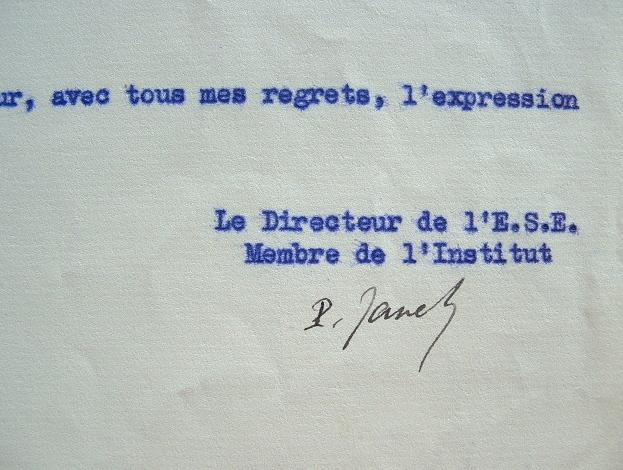 Paul Janet réserve son adhésion à un nouveau journal.. Paul Janet (1863-1937) Electricien, fondateur de la Société des amis d'André Ampère, directeur ...