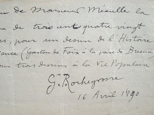 Georges Rochegrosse rétribué pour ses dessins.. Georges Rochegrosse (1859-1938) Peintre et illustrateur.