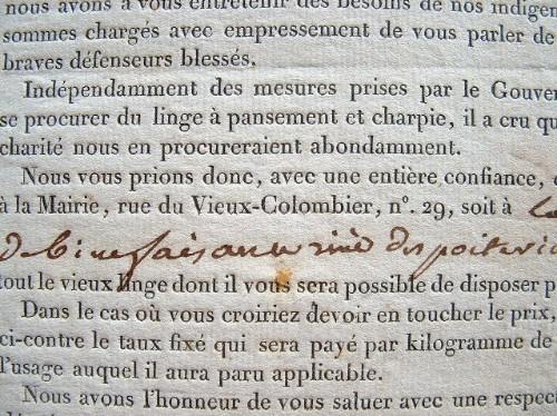 Collecte de linge pour panser les blessés de 1814..