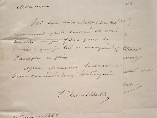Léon Morel-Fatio accepte une offre pour une marine.. Antoine Léon Morel-Fatio (1810-1871) Peintre officiel de Marine.
