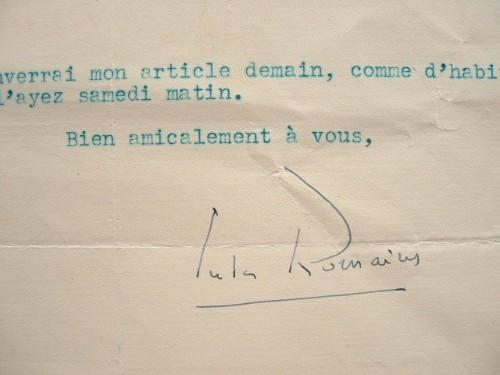 Jules Romains adresse un article.. Jules Romains (1885-1972) Ecrivain, poète et dramaturge, membre de l'Académie française (1946).
