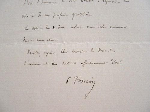 La gratitude du géographe Pierre Foncin.. Pierre Foncin (1841-1916) Géographe, co-fondateur de l'Alliance française.