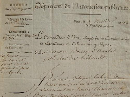 Lettre de Fourcroy à Boissy d'Anglas.. Antoine François Fourcroy (1755-1809) Chimiste et homme politique, directeur de l'Instruction Publique.