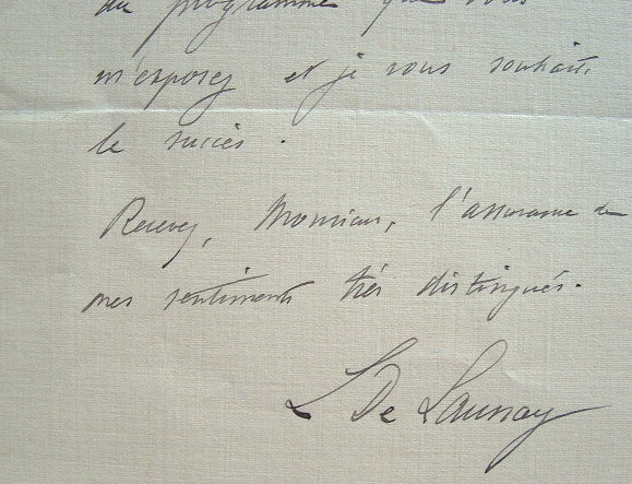 Louis de Launay. Billet autographe signé.. Louis Launay (de) (1860-1938) Ingénieur et géologue, membre de l'Académie des sciences (1912), il donne un ...