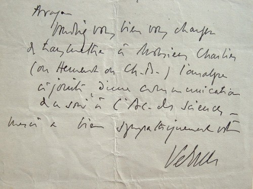 Lettre du spécialiste de la syphilis, Arthur Vernes.. Arthur Vernes (1879-1976) Médecin, spécialiste de la syphilis, fondateur de l'institut ...