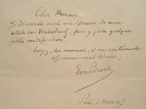 Emile Picard rend hommage à Karl Weierstrass.. Emile Picard (1856-1941) Mathématicien, secrétaire perpétuel de l'Académie des sciences, il se consacre ...