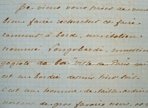 Du Petit-Thouars fait rechercher un marin déserteur.. Abel Bergasse Du Petit-Thouars (1832-1890) Vice-amiral.