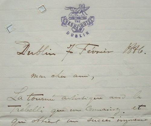 Le violoncelliste Joseph Hollmann en tournée à Dublin.. Joseph Hollmann (1852-1927) Violoncelliste hollandais ; Saint-Saëns compose pour lui son ...