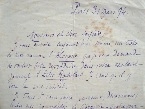 Pierre Maël annonce la parution de l'Alcyone.. Charles Causse (1862-1904) Ecrivain de romans d'aventures écrits conjointement avec Charles Vincent, ...