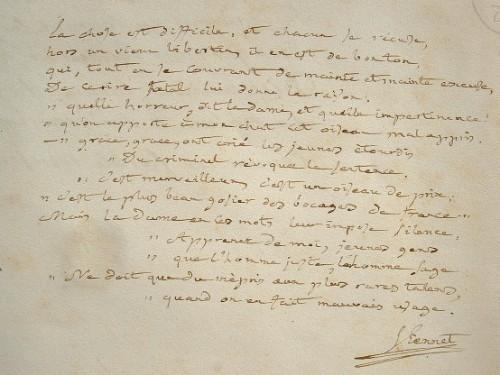 Manuscrit d'une fable de Viennet.. Jean-Baptiste Pongerville (Sanson de) (1782-1870) Poète et homme de lettres, membre de l'Académie française (1830), ...
