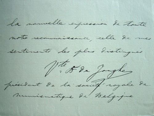 Le numismate Baudouin de Jonghe fait graver des vignettes.. Baudouin Jonghe d'Ardoye (vicomte de) (1842-1925) Numismate belge, président de la Société ...