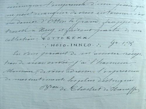 Chestret de Haneffe publie sa Numismatique de la principauté de Liège.. Jules Chestret de Haneffe (baron) (1833-1909) Archéologue et numismate belge, ...