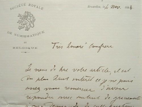 Le numismate Alphonse de Witte publie un article de Dannenberg.. Alphonse Witte (de) (1851-1916) Numismate belge.