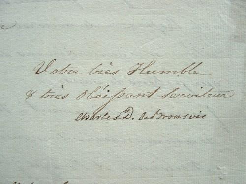 Lettre du duc Charles de Brunswick quelques semaines avant sa mort.. Charles II Brunswick-Lunebourg (duc de) (1735-1806) Prince et général allemand, ...