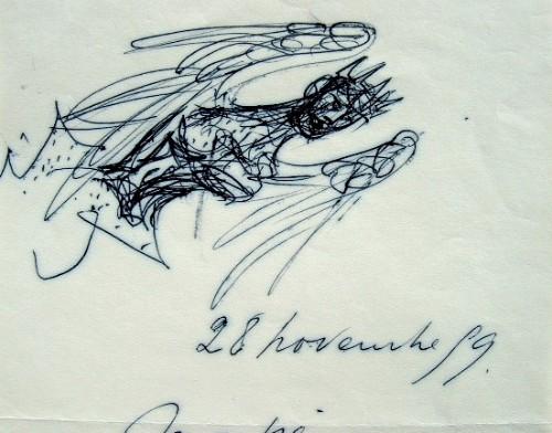 Lettre illustrée d'Yvette Alde.. Yvette Alde (1911-1967) Peintre et illustratrice, femme de Lorjou.