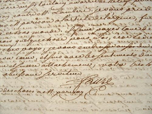 Lettre XVIIIe de Saint-Domingue avec marque postale..