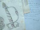 Quatre lettres et deux dessins d'Henriquel-Dupont.. Louis Pierre Henriquel-Dupont (1797-1892) Peintre, graveur et dessinateur, membre de l'Ac. des ...