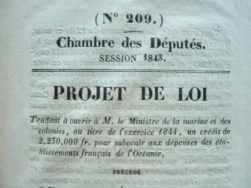 Projet de financement des Etablissements français de l'Océanie..
