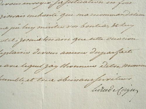 Recommandation du futur maréchal de Coigny.. François Henri Coigny (de Franquetot, duc de) (1737-1821) Maréchal de France (1816), il rejoint l'armée ...