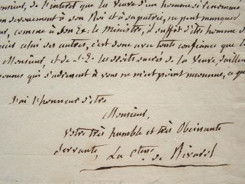 La veuve de Rivarol en quête de reconnaissance.. Louise Rivarol (comtesse de) (1750-1821) Femme d'Antoine de Rivarol (née Mather-Flint), d'un ...