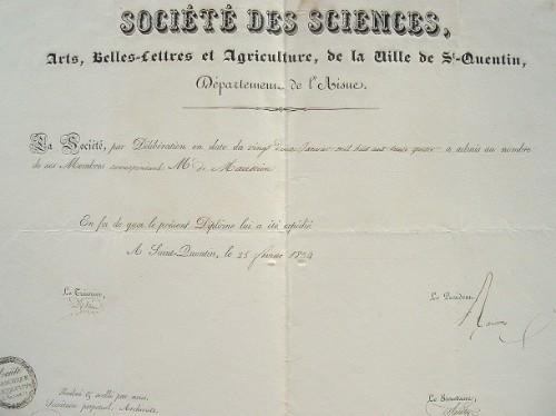 Diplôme de la Société des Sciences, Arts et Belles-Lettres de Saint-Quentin..