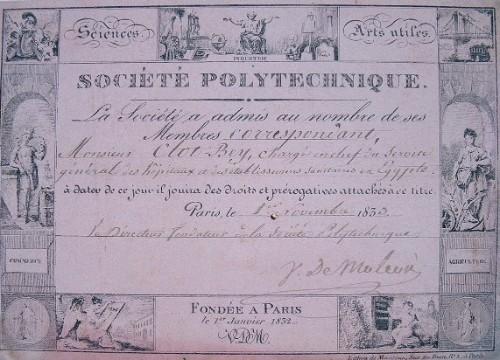 Carte de la Société Polytechnique de Clot-Bey.. Jean Gabriel Victor Moléon (de) (1784-1856) Savant, ingénieur en chef du cadastre, fondateur de la ...