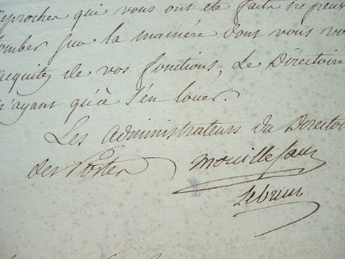 Lettre des administrateurs du directoire des postes, Mouillesau et Lebrun..