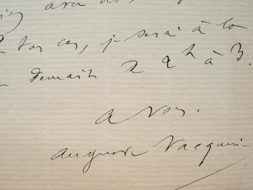 Auguste Vacquerie donne rendez-vous à Louis Ulbach.. Auguste Vacquerie (1819-1891) Poète, dramaturge et journaliste, grand ami et exécuteur ...