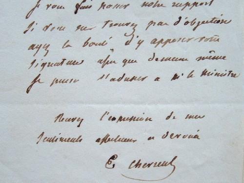 Les chimistes Chevreul et Péligot rédigent un rapport au ministre.. Eugène Michel Chevreul (1786-1889) L'un des grands chimistes du XIXe siècle, ...
