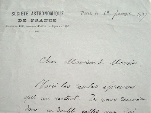 Camille Flammarion envoie les épreuves de son livre.. Camille Flammarion (1842-1925) Astronome. Créateur et directeur de l'observatoire de Juvisy. ...
