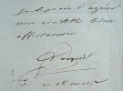 Docteur Fouquier. Lettre à A. Comte.. Pierre Eloi Fouquier (1776-1850) Médecin de Charles X et de Louis-Philippe, membre de l'Académie de médecine.