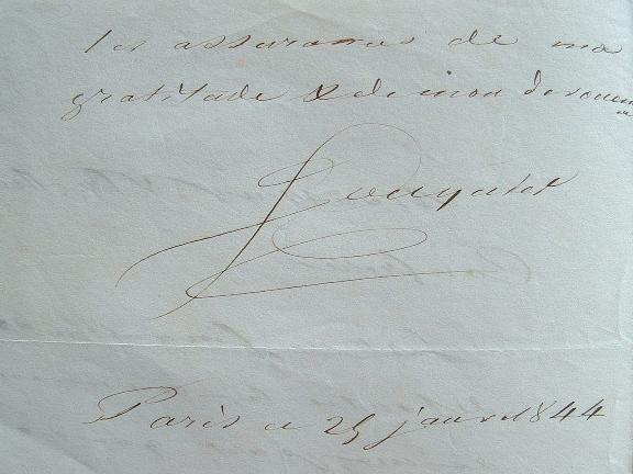 Les remerciements du Dr Fouquier.. Pierre Eloi Fouquier (1776-1850) Médecin de Charles X et de Louis-Philippe, membre de l'Académie de médecine.