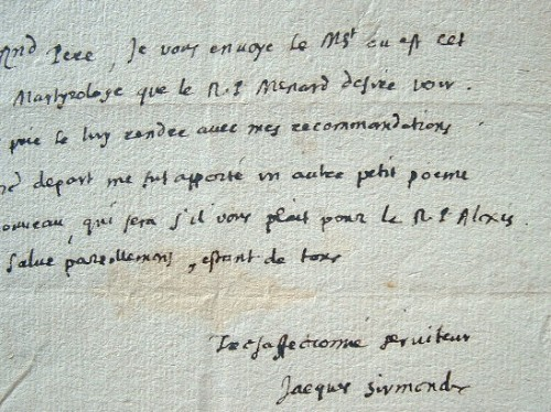 Jacques Sirmond transmet un manuscrit au R. P. Dom Luc.. Jacques Sirmond (1559-1651) Homme de lettres et jésuite, l'un des plus grands érudits de son ...