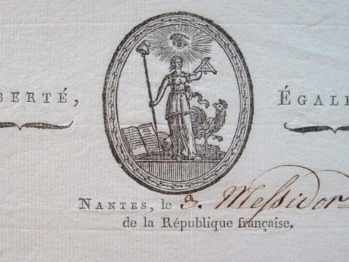Lettre avec jolie vignette du commissaire du tribunal criminel de Nantes..