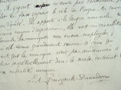 Bourgault-Ducoudray loue les harmonies nouvelles de Gigout.. Louis Albert Bourgault-Ducoudray (1840-1910) Compositeur et chef d'orchestre, prix de ...
