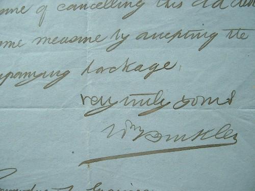 Lettre de l'amiral Buckle, de Canton, en Chine.. Charles Mathew Buckle (1828-1914) Amiral anglais ; à l'âge de 19 ans, étant en poste en Amérique du ...