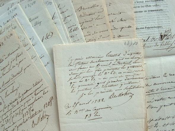 Correspondance du fondateur de la Société Polytechnique, Moléon.. Jean Gabriel Victor Moléon (de) (1784-1856) Savant, ingénieur en chef du cadastre, ...