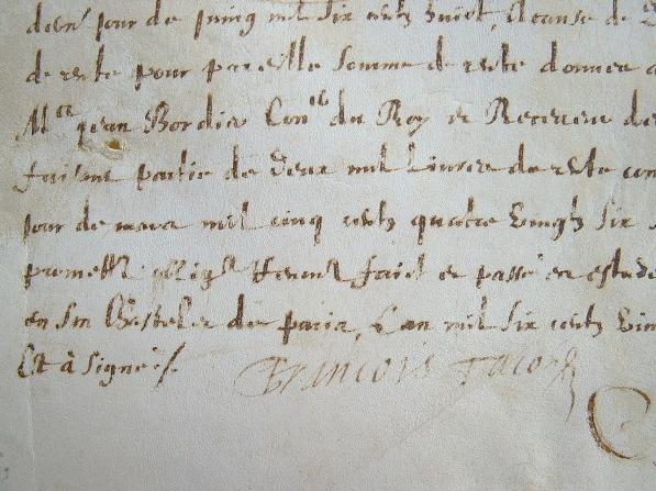 François Tacon reçoit une rente pour les Jésuites.. François Tacon (1569-1663) Jésuite, procureur de l'ordre à Pont-à-Mousson puis de toute la France.