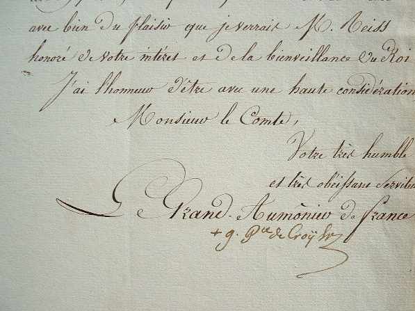 L'évêque de Strasbourg appuie une demande du sous-préfet de Saverne.. Gustave Croy-Solre (prince de) (1773-1844) Evêque de Strasbourg (1817), grand ...