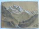 Dessin du sommet enneigé de la Jungfrau, en Suisse..
