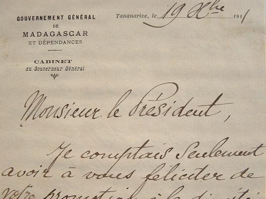 Le gouverneur de Madagascar, Albert Picquié, satisfait de sa politique.. Albert Picqui? (1853-1917) Gouverneur de Nouvelle-Calédonie (1892-1894), ...